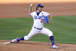 Los Angeles Dodgers starting pitcher Trevor Bauer (27) throws during the first inning of a baseball game against the St. Louis Cardinals Monday, May 31, 2021, in Los Angeles. (AP Photo/Ashley Landis)
