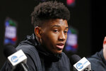 Texas Tech's Jarrett Culver answers questions during a news conference for the championship of the Final Four NCAA college basketball tournament, Sunday, April 7, 2019, in Minneapolis. Texas Tech will play Virginia on Monday for the national championship. (AP Photo/Charlie Neibergall)