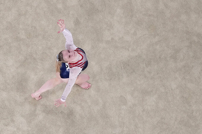 Jade Carey, of the United States, performs in the floor exercise during the artistic gymnastics women's apparatus final at the 2020 Summer Olympics, Monday, Aug. 2, 2021, in Tokyo, Japan. (AP Photo/Jeff Roberson)