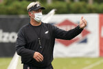 Philadelphia Eagles head coach Doug Pederson directs the practice during an NFL football practice, Thursday, Sept. 24, 2020, in Philadelphia. (AP Photo/Chris Szagola, Pool)