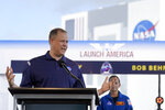 NASA Administrator Jim Bridenstine answers a question during a countdown clock briefing for the SpaceX Demo-2 mission Friday, May 29, 2020, at Kennedy Space Center in Cape Canaveral, Fla. The Falcon 9, with the Crew Dragon spacecraft on top of the rocket, is scheduled to liftoff from Launch Pad 39-A Saturday. Two astronauts will fly on the mission to the International Space Station. (AP Photo/David J. Phillip)