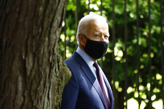 Democratic presidential candidate, former Vice President Joe Biden arrives to speak with families who have benefited from the Affordable Care Act, Thursday, June 25, 2020, in Lancaster, Pa. (AP Photo/Matt Slocum)