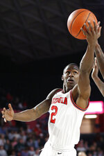 Georgia guard Jordan Harris shoots during the first half of the team's NCAA college basketball game against Missouri on Wednesday, March 6, 2019, in Athens, Ga. (Joshua L. Jones/Athens Banner-Herald via AP)