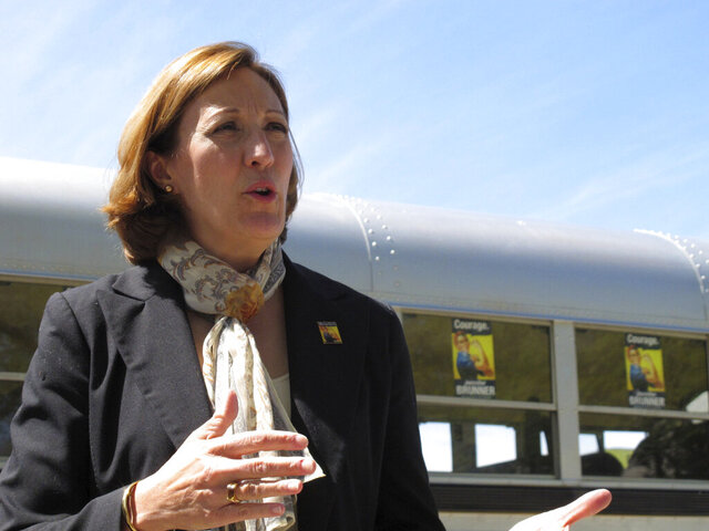 FILE - In this April 27, 2010, file photo, U.S. Senate candidate Jennifer Brunner, D-Ohio, speaks with supporters in Toledo, Ohio. Brunner, a state appeals court judge in Columbus, is a former county court judge who served as Ohio Secretary of State from 2007 to 2011. Brunner is running against Republican Ohio Supreme Court Justice Judi French. (AP Photo/John Seewer, File)