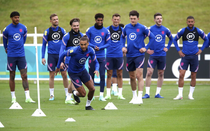 England's Dominic Calvert-Lewin during a training session at St George's Park, Burton upon Trent, England, Saturday June 26, 2021, ahead of their Euro 2020 match against Germany on Tuesday. (Nick Potts/PA via AP)