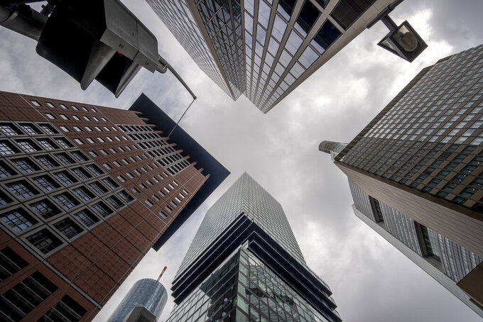 Buildings of the banking district stand close to each other in Frankfurt, Germany, Thursday, April 29, 2021. (AP Photo/Michael Probst)