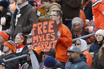 A fan holds up a sign in support of Cleveland Browns defensive end Myles Garrett during the first half of an NFL football game against the Miami Dolphins, Sunday, Nov. 24, 2019, in Cleveland. (AP Photo/Ron Schwane)