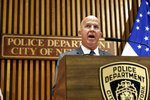 Police Commissioner James P. O'Neill makes an announcement at New York City Police Dept. headquarters, Monday, Aug. 19, 2019. After five years of investigations and protests, the New York City Police Department fired an officer involved in the 2014 chokehold death of Eric Garner, whose dying cries of