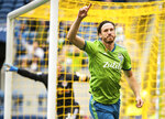 Seattle Sounders defender Gustav Svensson (4) celebrates assisting on a goal against the New York Red Bulls on Sunday, Sept. 15, 2019, in the first half of a MLS soccer match at CenturyLink Field in Seattle, Wash. (Joshua Bessex/The News Tribune via AP).