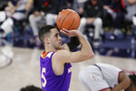 Northwestern State guard Jovan Zelenbaba shoots during the second half of the team's NCAA college basketball game against Gonzaga in Spokane, Wash., Tuesday, Dec. 22, 2020. Gonzaga won 95-78. (AP Photo/Young Kwak)