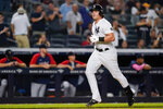 New York Yankees' Luke Voit runs the bases after hitting a home run during the seventh inning of the team's baseball game against the Minnesota Twins on Friday, Aug. 20, 2021, in New York. (AP Photo/Frank Franklin II)