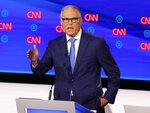 FILE - In this July 31, 2019 file photo, Washington Gov. Jay Inslee speaks during the second of two Democratic presidential primary debates hosted by CNN in the Fox Theatre in Detroit. Inslee, who made fighting climate change the central theme of his presidential campaign, announced Wednesday night, Aug. 21, 2019, that he is ending his bid for the 2020 Democratic nomination. Inslee announced his decision on MSNBC, saying it's become clear that he won't win. (AP Photo/Paul Sancya, File)