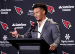 Arizona Cardinals NFL football quarterback Kyler Murray speaks to the media, Friday, April 26, 2019, at the Cardinals' practice facility in Tempe, Ariz. Murray was the first overall pick in the 2019 NFL Football draft. (AP Photo/Matt York)