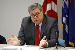 Attorney General William Barr speaks at a roundtable with members of local, state and federal law enforcement agencies at the Cleveland Police Department's Third District station, Thursday, Nov. 21, 2019, in Cleveland. (AP Photo/Patrick Semansky)