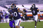 Virginia wide receiver Jalen Harrison (80) dashes with the ball during the team's NCAA college football game against Abilene Christian on Saturday, Nov. 21, 2020, in Charlottesville, Va. (Erin Edgerton/The Daily Progress via AP)