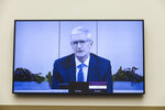 Apple CEO Tim Cook speaks via video conference during a House Judiciary subcommittee hearing on antitrust on Capitol Hill on Wednesday, July 29, 2020, in Washington. (Graeme Jennings/Pool via AP)
