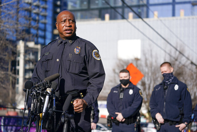 FILE - In this Sunday, Dec. 27, 2020, file photo, Metro Nashville Police Chief John Drake speaks at a news conference, in Nashville, Tenn. On Wednesday, Dec. 30, 2020, Drake said his officers properly handled a visit to the home of the Nashville bomber more than a year before they say he detonated an explosives-laden RV on Christmas Day in the city's downtown. (AP Photo/Mark Humphrey, File)