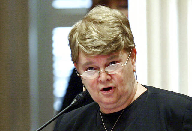 FILE - In this Aug. 31, 2008, file photo, then-state Sen. Sheila Kuehl, D-Santa Monica, speaks on the floor of the Capitol in Sacramento, Calif. Now a Los Angeles County supervisor, Kuehl enjoyed an al fresco meal at a restaurant just hours after voting to ban outdoor dining at restaurants over coronavirus safety concerns. Fox 11 reports Kuehl was seen eating at Il Forno Trattoria in Santa Monica on Nov.24, 2020.. Earlier in the day, Kuehl was among the supervisors who voted in support of prohibiting outdoor dining. Kuehl's office says she ate at Il Forno on the very last day it was permissible. (AP Photo/Steve Yeater, File)