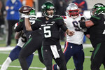 New York Jets quarterback Joe Flacco throws during the first half of an NFL football game against the New England Patriots, Monday, Nov. 9, 2020, in East Rutherford, N.J. (AP Photo/Bill Kostroun)