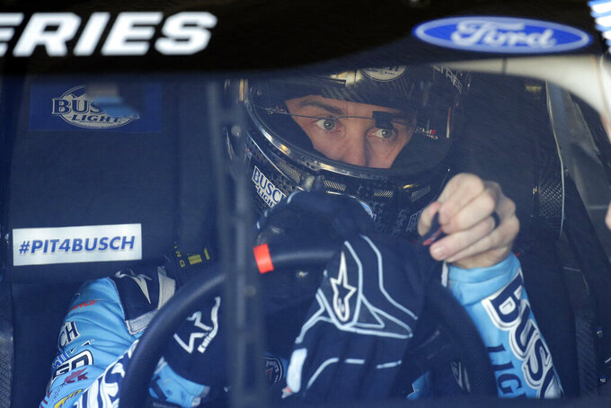 Kevin Harvick gets ready to go out on the track during a NASCAR auto race practice at Daytona International Speedway, Saturday, Feb. 8, 2020, in Daytona Beach, Fla. (AP Photo/Terry Renna)
