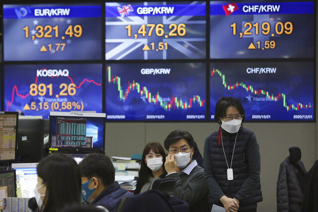 Currency traders work at the foreign exchange dealing room of the KEB Hana Bank headquarters in Seoul, South Korea, Tuesday, Dec. 1, 2020. Asian stocks rose Tuesday after Chinese manufacturing improved, with investors looking ahead to U.S. Federal Reserve Chairman Jerome Powell's appearance before legislators. (AP Photo/Ahn Young-joon)