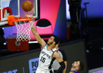 San Antonio Spurs' Quinndary Weatherspoon (15) goes to the basket past Utah Jazz' Georges Niang during the second half of an NBA basketball game Friday, Aug. 7, 2020, in Lake Buena Vista, Fla. (Kevin C. Cox/Pool Photo via AP)