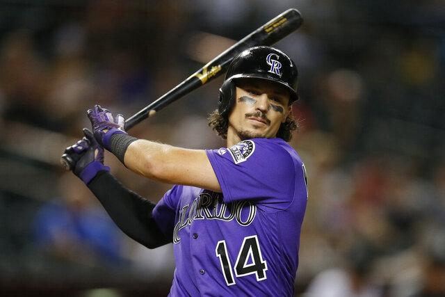 FILE - In this Tuesday, Aug. 20, 2019 file photo, Colorado Rockies catcher Tony Wolters (14) in the first inning during a baseball game against the Arizona Diamondbacks in Phoenix. Teams improved to 4-0 in salary arbitration this year when the Colorado Rockies defeated catcher Tony Wolters, who will earn $1.9 million rather than his request for $2,475,000. (AP Photo/Rick Scuteri, File)