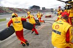 Joey Logano makes a pitstop during a NASCAR cup series auto race at Michigan International Speedway, Monday, June 10, 2019, in Brooklyn, Mich. (AP Photo/Carlos Osorio)