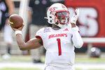 South Alabama quarterback Desmond Trotter (1) steps back to throw during an NCAA college football game against Louisiana-Lafayette in Lafayette, La., Saturday, Nov. 14, 2020. (AP Photo/Matthew Hinton)