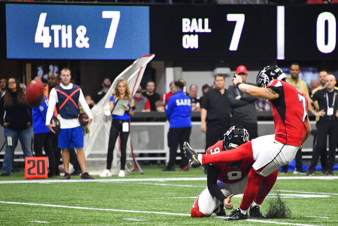 Atlanta Falcons Younghoe Koo (7) against the Tampa Bay Buccaneers kicks a field goal during the first half of an NFL football game, Sunday, Nov. 24, 2019, in Atlanta. (AP Photo/John Amis)