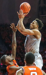Penn State' forward Lamar Stevens (11) during the second half of an NCAA college basketball game against Illinoise in Champaign, Ill., Saturday, Feb. 23, 2019.(AP Photo/Robin Scholz)