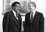 FILE - In this Oct. 23, 1980, file photo, President Jimmy Carter meets with the Rev. Joseph E. Lowery, president of the Southern Christian Leadership Conference, at the White House in Washington. Lowery, a veteran civil rights leader who helped the Rev. Dr. Martin Luther King Jr. found the SCLC and fought against racial discrimination, died Friday, March 27, 2029, a family statement said. He was 98. (AP Photo/Jim Wilson, File)