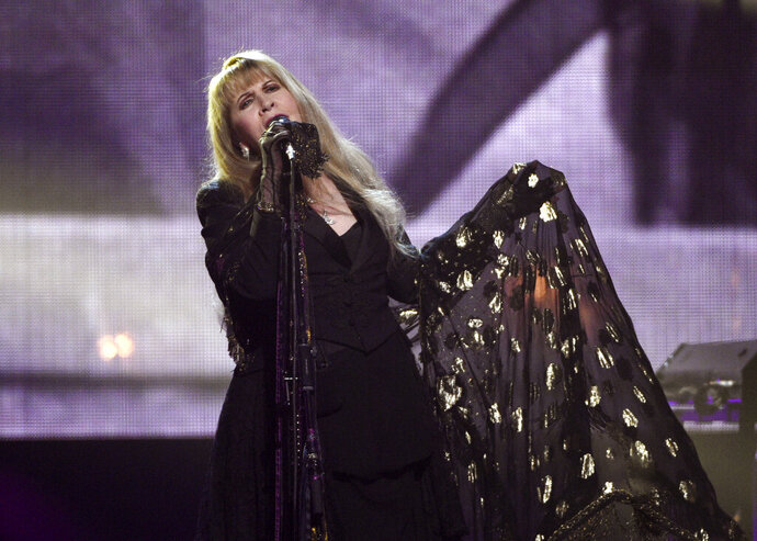 "FILE - Stevie Nicks performs at the Rock & Roll Hall of Fame induction ceremony in New York on March 29, 2019. Nicks has spent the last 10 months homebound, mainly due to the coronavirus pandemic. During that time, she recorded the new single ""Show Them the Way"