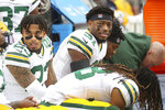 Green Bay Packers cornerback Jaire Alexander (23) and strong safety Adrian Amos (31) prepare for the NFL NFC Championship football game against the San Francisco 49ers, Sunday, Jan. 19, 2020 in Santa Clara, Calif. (Margaret Bowles via AP)