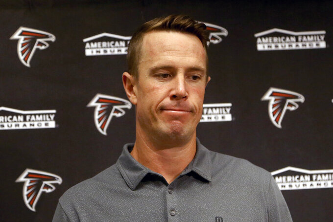 "FILE - In this Oct. 13, 2019, file photo, Atlanta Falcons quarterback Matt Ryan speaks after an NFL football game against the Arizona Cardinals, in Glendale, Ariz. Ryan has donated $500,000 to launch a fundraiser he says is designed ""to help improve the community for people of color in the city of Atlanta. (AP Photo/Ross D. Franklin, File)"