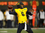 California quarterback Devon Modster passes against Washington State during the first half of an NCAA college football game Saturday, Nov. 9, 2019, in Berkeley, Calif. (AP Photo/Ben Margot)