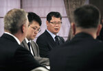 In this Wednesday, June 26, 2019, photo, South Korean Unification Minister Kim Yeon-chul speaks during a group interview at a hotel in Seoul, South Korea. The U.S. and North Korea both feel the need to resume diplomacy and are trying to narrow their differences for new summit talks, Kim said as he contrasted their efforts with the tensions surrounding Iran's collapsing nuclear accord. (AP Photo/Ahn Young-joon)