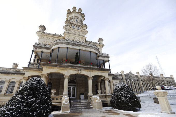 File-This Dec. 25, 2017, file photo shows Anamosa State Penitentiary in Anamosa, Iowa. A nurse and a correctional officer at the Anamosa State Penitentiary in eastern Iowa died Tuesday, March 23, 2021, after an inmate attacked multiple staff members and other inmates, state officials said. (Liz Martin/The Gazette via AP, File)