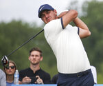 Brooks Koepka tees off on the first hole during the first round of the Byron Nelson golf tournament Thursday, May 9, 2019, at Trinity Forest in Dallas. (Ryan Michalesko/The Dallas Morning News via AP)