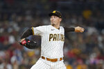 San Diego Padres starting pitcher Blake Snell works against a Los Angeles Angels batter during the first inning of a baseball game Tuesday, Sept. 7, 2021, in San Diego. (AP Photo/Gregory Bull)