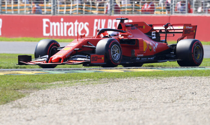 Ferrari driver Sebastian Vettel of Germany drives his car during the final practice session for the Australian Grand Prix in Melbourne, Australia, Saturday, March 16, 2019. The first race of the year is Sunday. (AP Photo/Andy Brownbill)