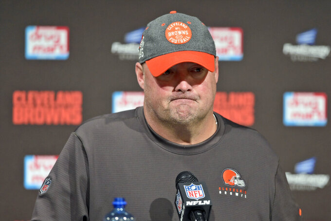 FILE - In this Oct. 13, 2019, file photo, Cleveland Browns head coach Freddie Kitchens answers questions after an NFL football game against the Seattle Seahawks, in Cleveland. Kitchens sold cars in Alabama before he got into coaching. So at least he's got a fallback plan. The Browns' first-year coach, whose selection was met with some skepticism because of his lack of experience, could be down to his final games if Cleveland doesn't turn around a season that has derailed after beginning with sky-high optimism.(AP Photo/David Richard, File)