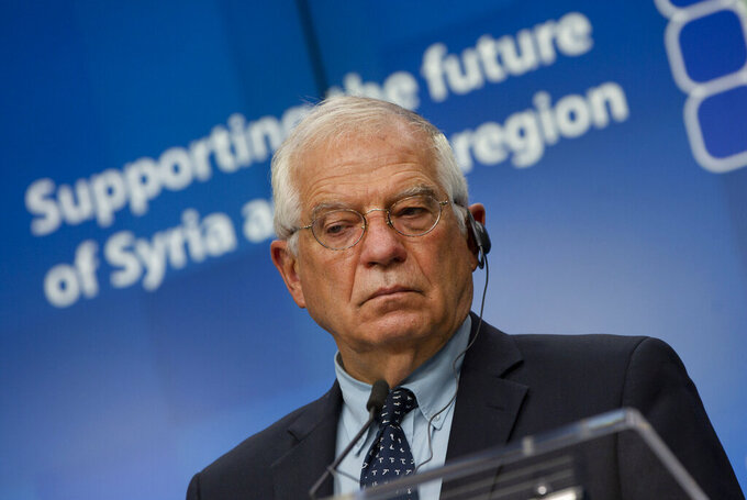 European Union foreign policy chief Josep Borrell speaks during a media conference after a meeting, Supporting the future of Syria and the Region, in videoconference format at the European Council building in Brussels, Tuesday, June 30, 2020. (AP Photo/Virginia Mayo, Pool)