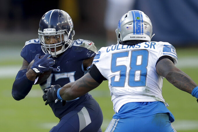 Tennessee Titans running back Derrick Henry runs past Detroit Lions outside linebacker Jamie Collins during the second half of an NFL football game Sunday, Dec. 20, 2020, in Nashville, Tenn. (AP Photo/Ben Margot)