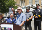Greg Franck, father of Gregary Wade Franck, a cyclist killed by a drunk driver in Des Moines, Iowa, in 2015, speaks during a news conference announcing the Iowa Traffic Fatality Reduction Task Force at the Iowa Capitol Building in Des Moines on Tuesday, June 8, 2021. (Bryon Houlgrave/The Des Moines Register via AP)