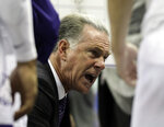 TCU head coach Jamie Dixon talks to the team during a timeout in the second half of an NCAA college basketball game against Air Force, in Fort Worth, Texas, Monday, Nov. 18, 2019. (Bob Booth/Star-Telegram via AP)