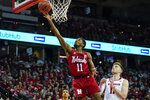 Nebraska's Dachon Burke, left, shoots past Wisconsin's Micah Potter during the first half of an NCAA college basketball game Tuesday, Jan. 21, 2020, in Madison, Wis. (AP Photo/Andy Manis)