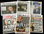 A combination photo of the front-pages of British newspapers on Thursday Nov. 21, 2019 headlining the scandal surrounding Britain's Prince Andrew. Lawyers for victims of sex offender Jeffrey Epstein say Britain's Prince Andrew should speak to U.S. investigators immediately, after the prince withdrew from royal duties over what he called his