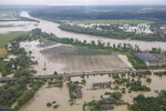 An aerial view on the flooded villages in the Ivano-Frankivsk region, western Ukraine, Wednesday, June 24, 2020. Some 200 villages in the Carpathian mountains were flooded after heavy rains. (Emergency Situation Ministry via AP)