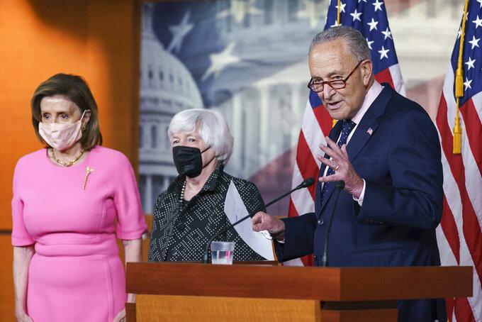 "From left, Speaker of the House Nancy Pelosi, D-Calif., Treasury Secretary Janet Yellen, and Senate Majority Leader Chuck Schumer, D-N.Y., update reporters on Democratic efforts to pass President Joe Biden's ""Build Back Better"" agenda, at the Capitol in Washington, Thursday, Sept. 23, 2021. (AP Photo/J. Scott Applewhite)"